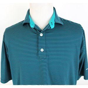 FootJoy Large Golf Polo Shirt Striped Teal Blue